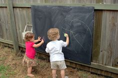 DIY Outdoor Chalkboard-super cute idea!! Going to hang it on the shed near the garden to keep my Adalee busy!