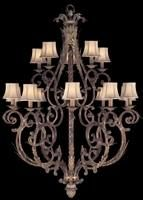 Two-tier chandelier in tortoised leather crackle finish with stained silver leaf accents. Hand-sewn, silk shantung shades.