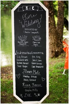 Hiwassee River Wedding by Mimi Kay Photography, wedding photographers in Cleveland, TN and Benton, TN, chalkboard program, rustic vintage DIY wedding