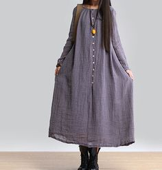 women maxi dress linen dress long sleeve dress linen by customsize, $89.00