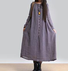 women maxi dress linen dress long sleeve dress linen by customsize, $89.00