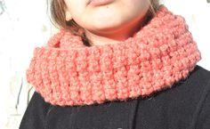 Handmade Crochet Alpaca Skinny Coral Infinity Scarf by FarahsAttic, $12.00