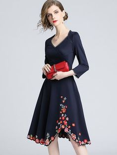853a0d631f Buy Floral Dresses Midi Dresses For Women from YZL Studio at Stylewe.  Online Shopping Stylewe Casual Dresses Long Sleeve Floral Dresses Work A-Line  V-Neck ...
