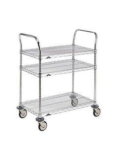 """""""Create your own kitchen island. Buy one of those stainless-steel wire mesh trolleys by Metro shelving and get a big slab of stone, or butcher block to put on top."""" -Birch Coffey"""
