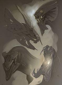 Sketch Heads by beastofoblivion on deviantART dragon alien monster heads