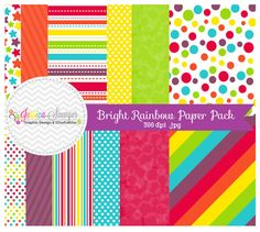 INSTANT DOWNLOAD, bright rainbow digital scrapbooking papers, rainbow printable papers, party paper, for commercial and personal use