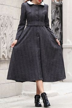 Checked Turn Down Collar Long Sleeves Dress