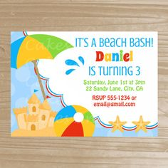 $15 Beach Invitation - Beach Party Printable Invite - Beach Birthday Invitation - Digital File