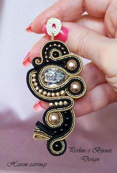 Earrings Harem technique soutache/Harem soutache by PerlineeBijoux Soutache Necklace, Ring Necklace, Tassel Earrings, Embroidery Jewelry, Beaded Embroidery, Boho Jewelry, Handmade Jewelry, Imitation Jewelry, Swarovski
