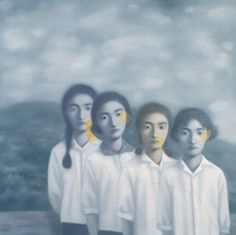 'Big Family. Four Sisters' -- Zhang Xiaogang (born 1958). He is known for his monochromatic portraits of Chinese people and has his work based on family portraits from the time of the Cultural Revolution.