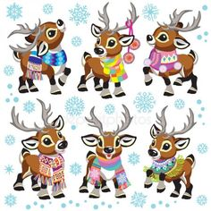 Stock illustration: set of cartoon reindeer wearing a colorful knitted scarf . Collection of funny Christmas tiny caribou deer in different poses. Vector illustration for baby and little kid. Christmas Cartoons, Christmas Characters, Christmas Clipart, Christmas Humor, Christmas Hat, Christmas Animals, Christmas Stockings, Christmas Ornaments, Christmas Illustration
