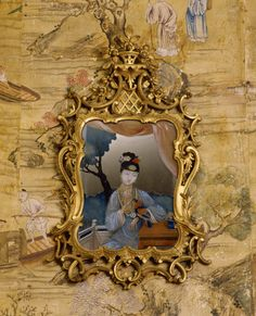 Chinese mirror painting showing a lady leaning against a balustrade in a garden setting, mid eighteenth century, at Saltram, Devon. ©National Trust Images/Rob Matheson