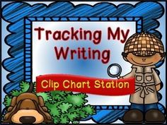 """$3 """"Tracking My Writing"""" Clip Station (Detective Theme Writin"""