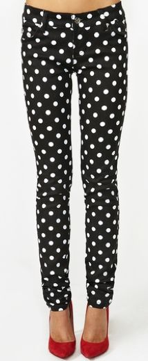 Polka dots with flats and embellished sweatshirt dancing with polka dot pants red pumps sisterspd