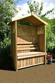 Zest 4 Leisure - Dorset Wooden Trellis Arbour Garden Seat With Storage Box