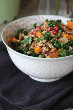 Farro with Roasted Sweet Potato, Kale, and Pomegranate Seeds - A Hint of Honey