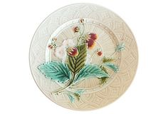 French Majolica Strawberries Wall Plate