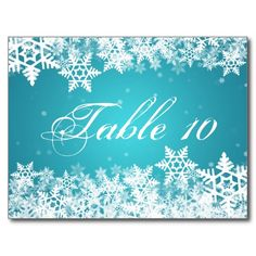 Elegant Table Number Winter Snowflakes Blue Postcard