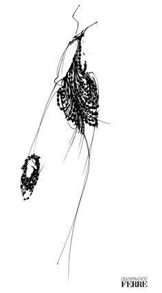 Fondazione Gianfranco Ferré / Collections / Woman / Prêt-à-Porter / 2001 / Spring / Summer Fashion Illustration Sketches, Collage Illustration, Fashion Design Sketches, Moda Fashion, I Love Fashion, Fashion Art, Silhouette Mode, Human Sketch, Love Couture
