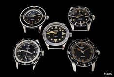 Top: Blancpain Fifty Fathoms from 1955, Rolex Submariner 6538 from 1959 Center: Eberhard Scafograf 200 from 1961 Bottom: Omega Seamaster 300 CK 14755 from 1961, Longines Nautilus Skin Diver 2961-1 (US version) from 1959