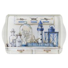 Perfect for holding an array of pillar candles or serving guests at your next soiree, this charming tray showcases a nautical-inspired still life motif.