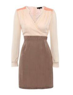Atelier 61 Cream Contrast Crossover Dress @ New Look