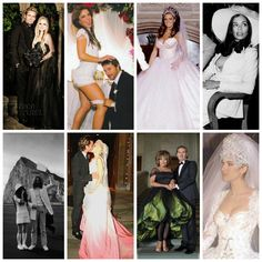 Unusual Wedding Outfits of Celebrities: Avril Lavigne, Britney Spears, Katie Price, Bianca Jagger, Yoko Ono, Gwen Stefani, Tina Turner & Celine Dion.  Click the image for more interesting captures of weddings.  #weddingsReinvented #weddingOutfits #celebrityWedding