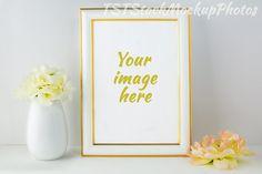 Frame Mockup with ivory hydrangea. Wedding Card Templates