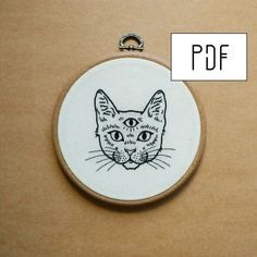 Three Eyed Cat Hand Embroidery Pattern PDF modern embroidery