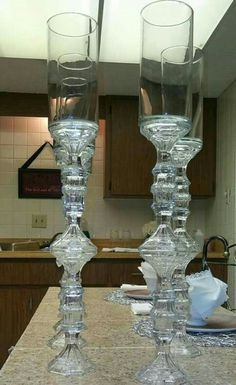 Diy Decors Diy Decors in 2020 Dollar Tree Centerpieces, Dollar Tree Decor, Dollar Tree Crafts, Vase Centerpieces, Wedding Centerpieces, Wedding Table, Wedding Church, Dollar Tree Wedding, Diy Wedding Decorations