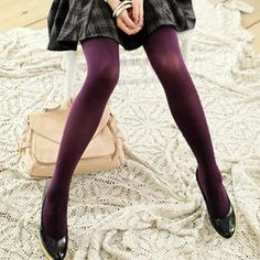 Purple Tights with black / grey / white