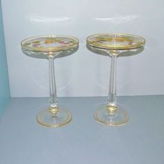 SALE!!  This pair offered by Yesteryears Accents on Ruby Lane.  Find them at http://www.rubylane.com/shop/yesteryearsaccents. Pair of Gilt Encrusted Tall Tazza; Painted and Gilt Fruits; Early 20th C