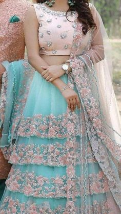Sky blue Floral designs Lehenga choli set - Source by patelswati - Indian Fashion Dresses, Indian Gowns Dresses, Dress Indian Style, Indian Designer Outfits, Pakistani Dresses, Blue Dresses, Lehenga Choli Designs, Indian Wedding Outfits, Bridal Outfits