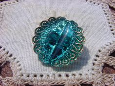 Sparkling Sea Blue Peacock Eye Czech Glass by vintagebeadnut, $6.00