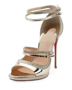 875f9af6b282 Get free shipping on Christian Louboutin Sotto Sopra Metallic Red Sole  Sandal at Neiman Marcus.