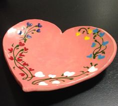 Beautifully Hand Painted Valentine's Day Heart Shaped Plates (three…