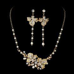 Vintage Gold Freshwater Pearl & Crystal Wedding Jewellery Set