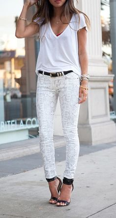 white tee + white patterned skinnies