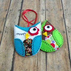 Winking Owl Felt Christmas Ornament