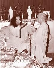 "Paramhansa Yogananda blessing Rajarsi Janakananda - Rajarsi has such a sweet. kind, and childlike countenance. Master called him ""little one."""