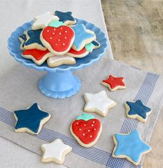 Jenny Steffens Hobick: Fourth of July Party Decorations 4th Of July Cake, Fourth Of July Food, 4th Of July Celebration, 4th Of July Party, July 4th, Star Cookies, Cute Cookies, Favorite Holiday, Holiday Fun