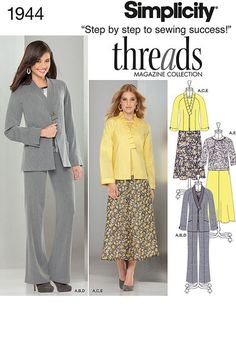 Out-of-print  Misses' jacket in two lengths with neckline variation, top, skirt and pants. Threads sewing pattern collection.
