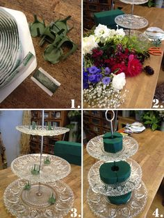 Flowers on cake stand