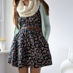 jacket dress scarf girly big scarf mint cardigan leather belt sweater floral outfit fall fall outfit cute floraldress chambray shirt chambray chic sweater leather
