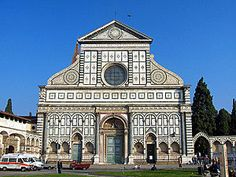 Santa Maria Novella. Alberti. Florence, Italy. 1456-1470. Early Renaissance Italy. Simple numerical ratios are the basis of the proportions of all parts of the facade. Alberti succeeded in connecting medieval features to a rigid geometrical order that instilled a quality of classical calm and reason.