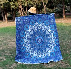 Gorgeous and beautiful beach blankets are a boho babe essential and favourite. Handmade from 100% Cotton with ethnic mandala design.  They can be used for the beach, as a wall hanging or on a bed or anywhere you like.  Beach Towel, Hippie Mandala Rug, Indian Wall Tapestry, Round Bohemian Tapestries and Bedspread, Yoga mats