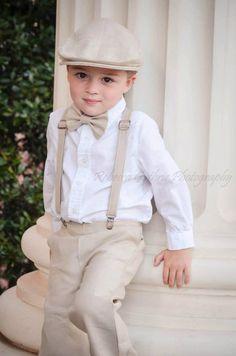 Dapper Young Man - Crisp White Shirt - Trousers & Braces - Bow Tie - Cap