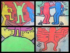 Schilderen in de stijl van Keith Haring, met plakkaatverf op karton