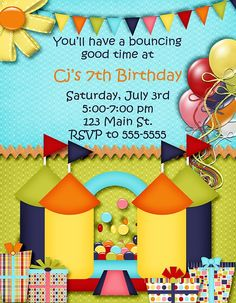 Deb's Party Designs - Bouncy House Birthday Invitation , $1.00 (http://www.debspartydesigns.com/bouncy-house-birthday-invitation/)