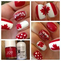 Go Team Canada! Red And White Nails, Red Nails, Hair And Nails, Holiday Nail Designs, Holiday Nails, Nail Polish Designs, Nail Art Designs, Pedicure Designs, Cute Nails